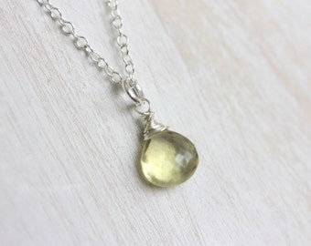 Lemon Quartz Pendant, Sterling Silver Necklace, Yellow Gemstone