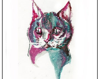 Space Cat - Print - Original Ink Art - Print for Design - abstraction