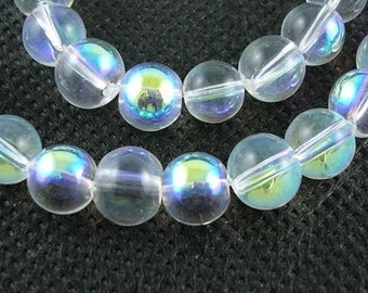 1 Strand AB Color Plated 8mm Round Glass Beads Dyed (B43c)