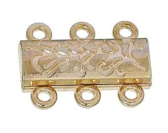 2 Gold Plated Flower Carved Magnetic Clasps 19x14mm (B7k/193a)