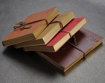 """4 Colors Retro Bound Leather Cover String Key Notebook Vintage Journal 5""""x7"""