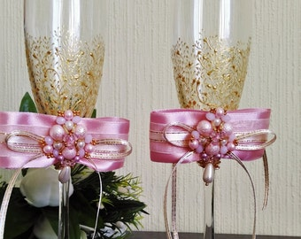 Personalized glasses Champagne flutes Gold wedding toasting glasses Gatsby Style gold Flutes Gold rose wedding toasting flutes Set of 2 Gold