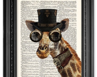 Steampunk Giraffe, Steampunk Art Print, Dictionary art print, Vintage book art print, Animal print, Home Wall Decor [ART 058]