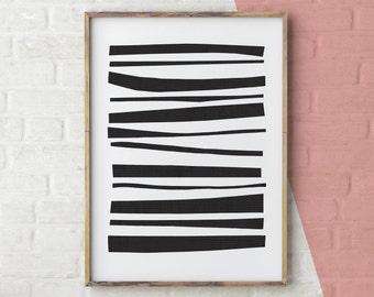 Nursery print, abstract wall art, digital print, modern digital art, Scandinavian print black and white abstract print, black stripes print