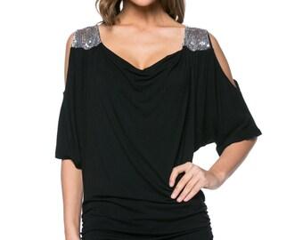 Black Embellished Cutout Drape Top