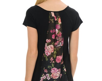 Floral Back-Detail Tee - Available in Black, Yellow, Royal Blue & Navy