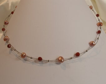 Beaded necklace freshwater pearls old pink and Garnet.