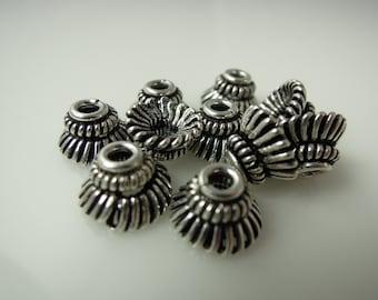 Bead Caps Bali Style Rhodium Plated #9703