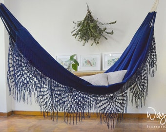 Macondo blue single Hammock, nautical, boho, 100% cotton, hand woven, outdoors and indoor hammock, luxury, traditional
