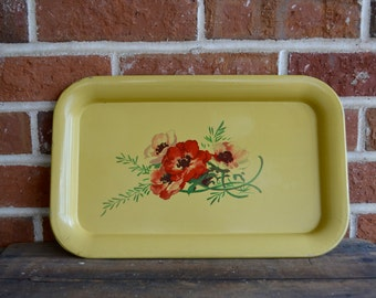 Vintage Floral Tray Vintage Yellow Floral Metal Tray Midcentury or Shabby Chic