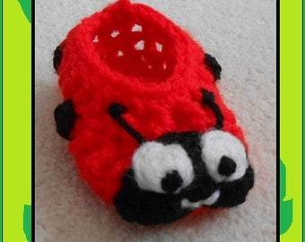 Ladybird Booties, Ladybird Socks, Ladybug Baby Shoe, Baby Slippers, Crib Shoe, Baby Shower Gift, Fun Baby Gift, Boys and Girls
