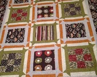 SALE-Brown and green quilt top