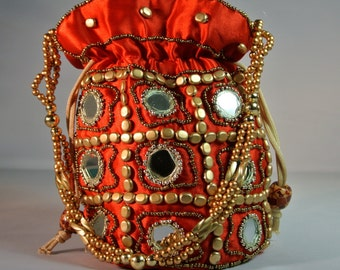Indian Potli Clutch Bag,  Purse,  Money Purse  adorned with Beads and Mirror Work