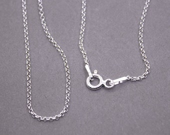 """16"""" Sterling Silver 1mm Rolo Chain Necklace   1MM Small Rolo Stamped .925 Finished With A Lobster Clasp"""