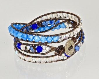 Leather Blue Beaded Wrap Bracelet, Chan Luu, Navy Blue Leather Bracelet, Crystal and Blue Summer Bracelet, Wrapped Leather Bracelets