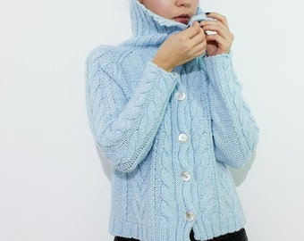 Vintage Cable Knit Wool Cardigan
