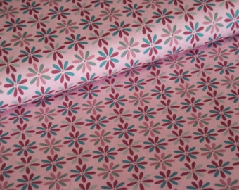 Cotton Jersey pink with flowers pattern