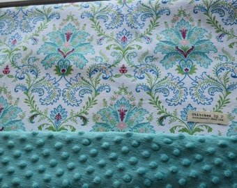 Custom Minky Mermaid Colors Green Aqua Whimsical Baby Blanket Fairy Nursery Damask Crib Bedding for Newborn Baptism Present
