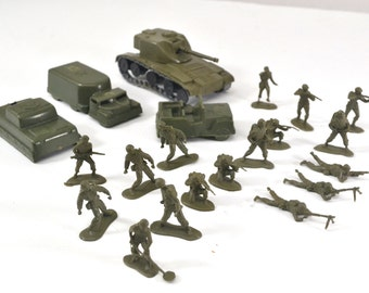 Collectible Toy Army Men With Vehicles, Military Toys From The 1960's, Tiny Army Men, 1960's Military Pretend Toys, Mohawk Army Toys