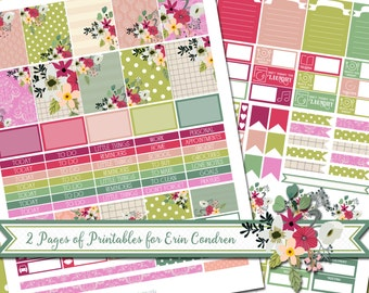 Temple Blossoms - Printable Sticker Kit - Erin Condren Vertical - PDF and JPEG - Instant Download - 2 Pages - ECLP