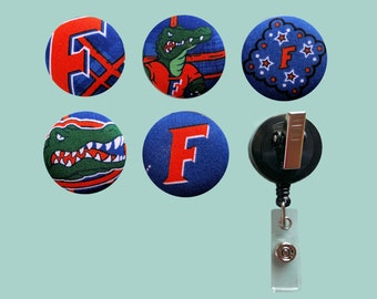 Badge Reel Clip with University of Florida Fabric Cover