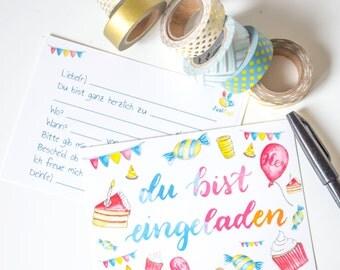 15 (+ 5 free) invitation cards for birthday, birthday invitation, postcards, invitation text on the back.