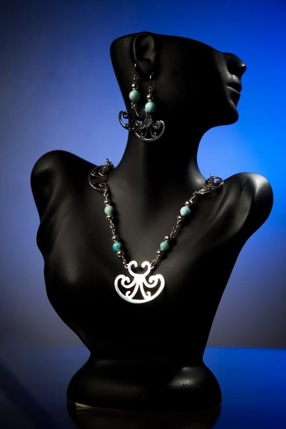 Jewelry Set with Larimar Stone