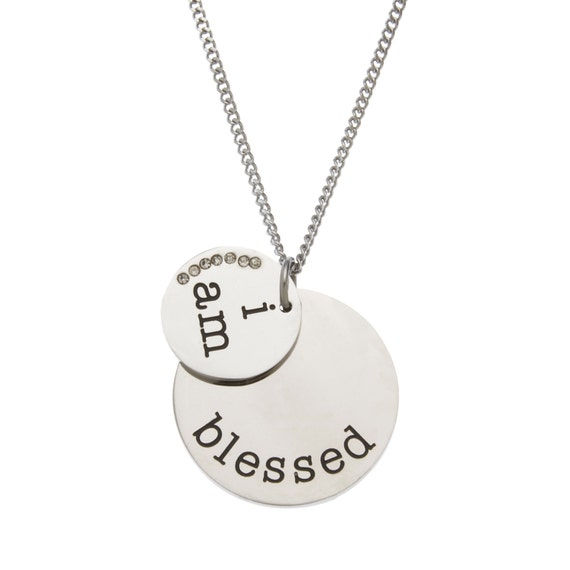 """High Polished Stainless Steel """" I Am Blessed """" Pendant Necklace with CZ, Blessed Jewelry"""
