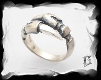 Silver ring gothic tribal brushed and oxidized - #506