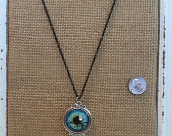 Blue eyed Silver pendant necklace