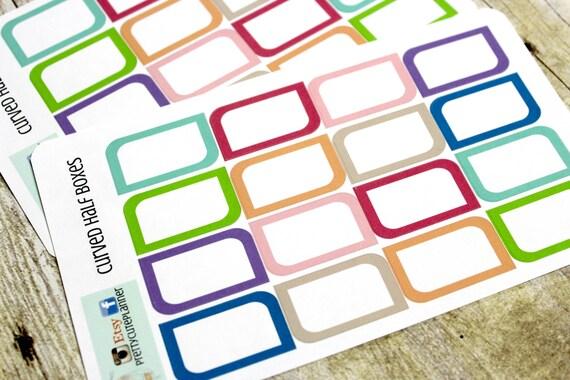 Half Box Planner Stickers - Planner Stickers - Erin Condren Life Planner - Happy Planner - Functional stickers - Curved Half Box stickers