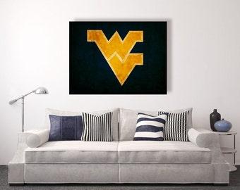 West Virginia Mountaineers vintage style Canvas Print, vintage football decor, college football logos, apartment decorating ideas, WVU