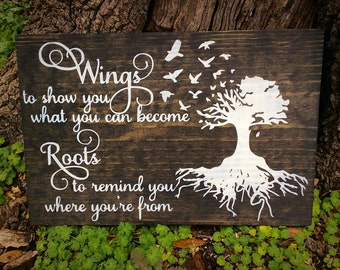 Wings to show you what you can become, Roots to remind you where you've been, sign, wings and roots sign, family, inspirational sign