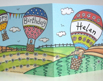 Hot Air Balloon Birthday Card, Balloon Birthday Card, Ballooning Card, Hot Air Balloon Card, ( Personalised with first name only ).