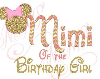 Mimi Minnie Mickey Mouse Grandma Big Sister Shirt DIY Iron On Digital Art Little Sister Matching Pink Gold Pregnancy Announcement