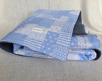 baby blanket- cotton -fleece-blue-patchwork style -grey- birth-gift-newborn-babys hower-baby boy