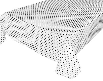 Cotton Table Cloth Polka Dots / Spots Small Dots Black on White