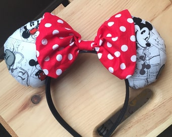 Black and White Mickey Mouse Ears