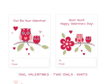 Printable - Classroom Valentines - Valentine Owls - Two Owls