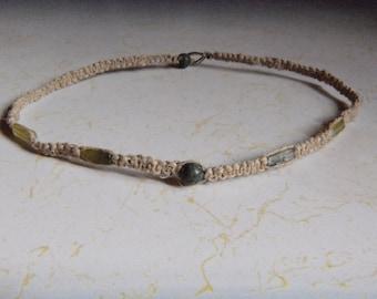 Natural Hemp Necklace w/ Jade
