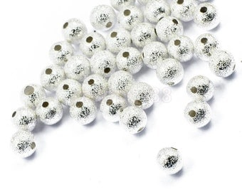 Silver Stardust Beads, Stardust Spacer Beads, 6mm Stardust Beads, 6mm Spacer Beads, Silver Beads, Rainbow Spacers, 6mm Glitter Beads,