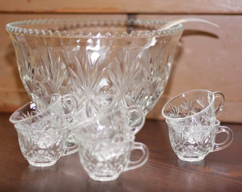 Vintage Punch Bowl with Six Cups and Plastic Ladle