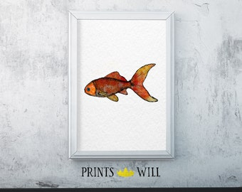 Printable Watercolor Goldfish | Instant Download | Printable Art | Nursery Art | Wall Decor