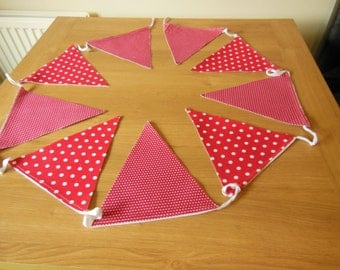 Red and white cotton fabric polka dot bunting, 9 flags