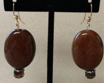 Rich Brown Ceramic Earrings