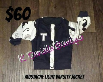 Mustache Light Varsity Jacket.