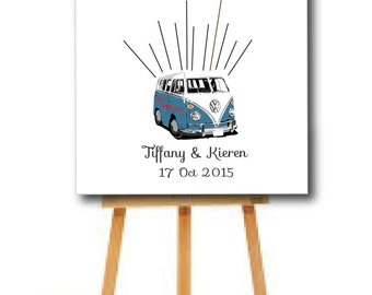 Custom wedding guestbook, wedding fingerprint guestbook, fingerprint tree, VW wedding, Fingerprint VW, wedding keepsake