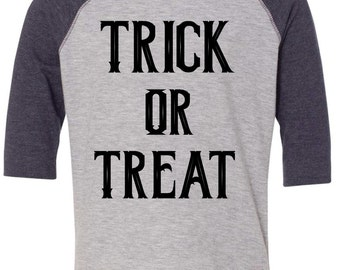Toddler Halloween Shirt - Trick or Treat Raglan - toddler shirt - halloween raglan - unisex toddler shirt