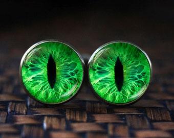 Green cat eye cufflinks, cat eye cufflinks, eye cufflinks, Green cufflinks, Cat Lover Gifts, Cat cufflinks