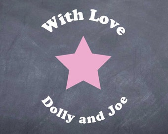 Personalised Chalk Pink/Blue/Yellow Star Birthday Gift Stickers (8.6cm x 4.9cm)
